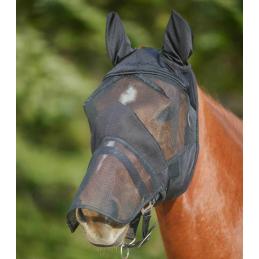 Vliegenmasker met oren- en neusbeschermer zwart