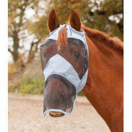 Vliegenmasker zonder oren met neusbeschermer zilvergijs