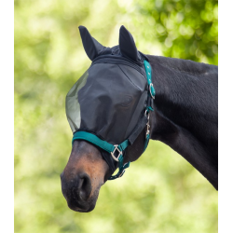 Premium Vliegenmasker Velcro met orenbeschermer zwart